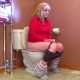 An older blonde lady takes a piss and a shit while sitting on a toilet. A single plop is heard before she wipes. Presented in 720P HD. Over 3 minutes.